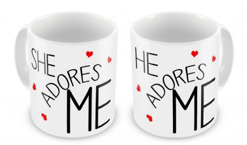 He/She Adores Me Novelty Gift Mugs Set